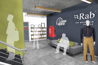 RAB and Lowe Alpine Office Lobby Design